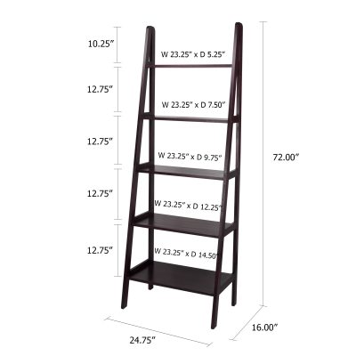 5-Shelf Ladder Bookcase Dimensions