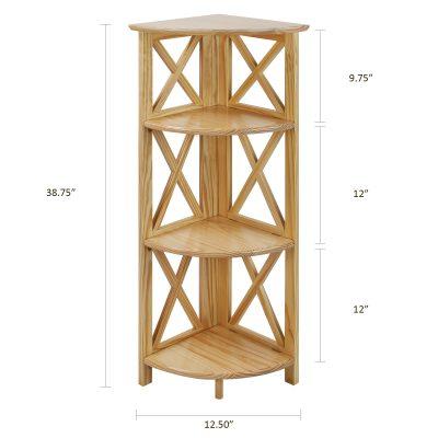 Montego Style 4-Shelf Corner Folding Bookcase Dimensions