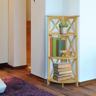 Montego Style 4-Shelf Corner Folding Bookcase Life Style