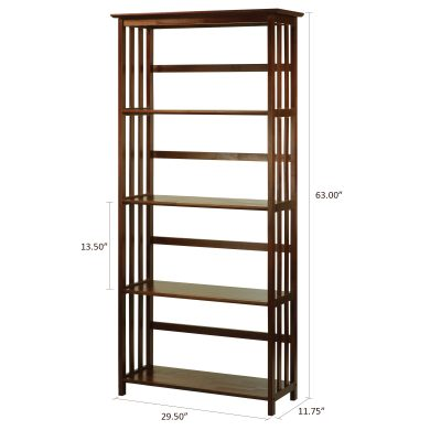 Mission Style 5-Shelf Bookcase Dimensions