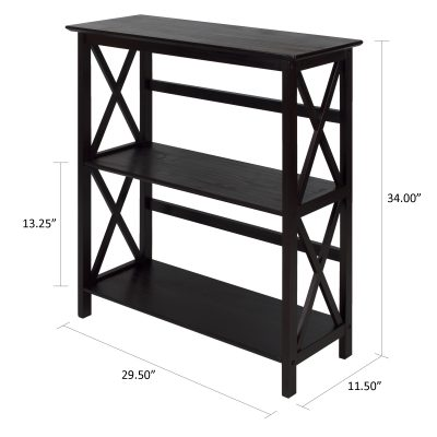 Montego Style 3-Shelf Bookcase dimensions