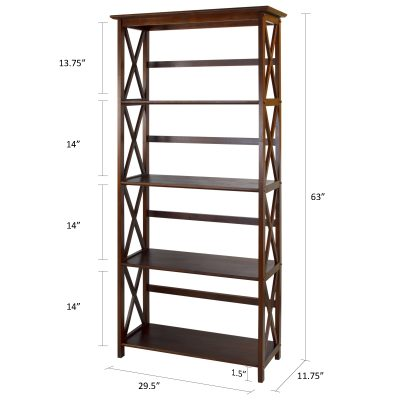 Montego Style 5-Shelf Bookcase Dimensions