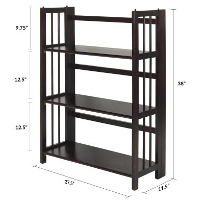 3-Shelf Folding Stackable Bookcase Dimensions