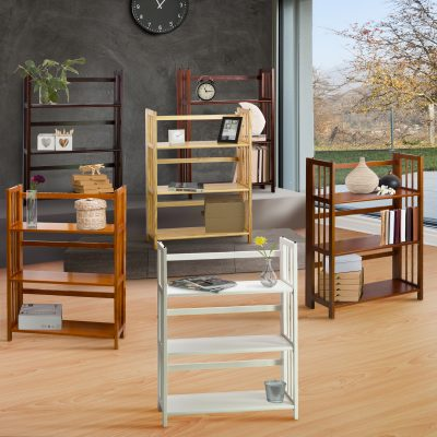 3-Shelf Folding Stackable Bookcase life style