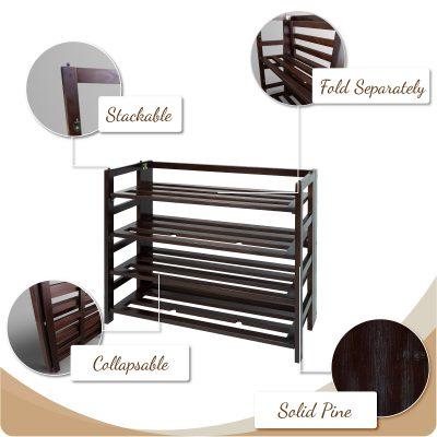 4-Shelf Folding Shoe Rackwaaws Features