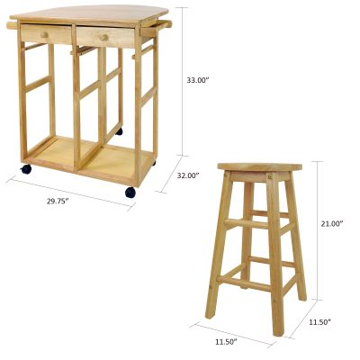 Breakfast Cart with Drop-Leaf Table Dimensions