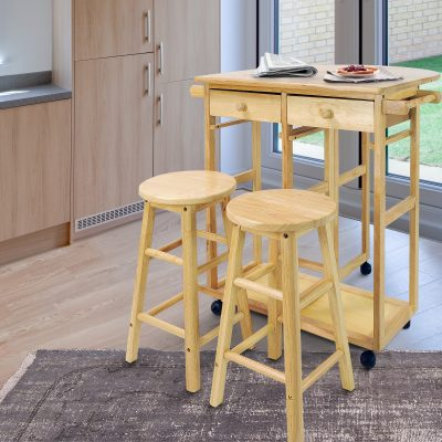 Breakfast Cart with Drop-Leaf Table life style