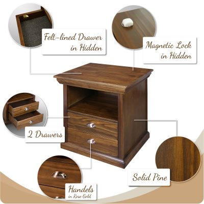 Lincoln Nightstand Furniture with Hidden Compartment