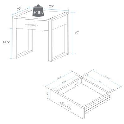 Austin End Table Dimensions