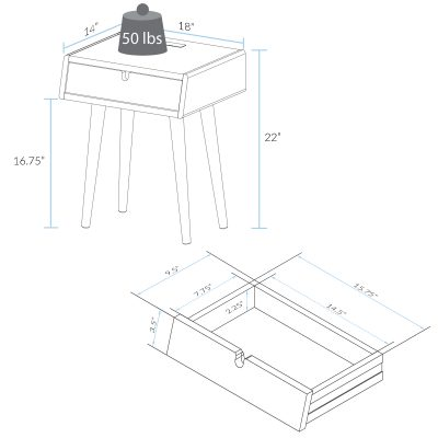 Freedom Nightstand/End Table Dimensions