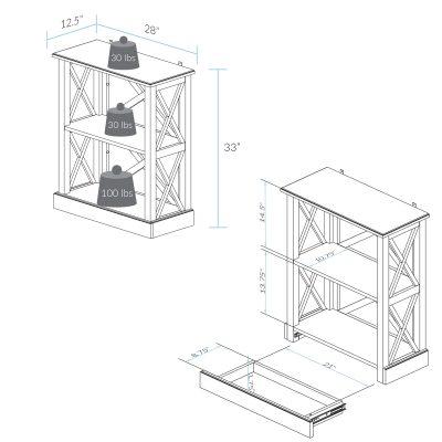 Jackson 3-Shelf Bookcase Dimension