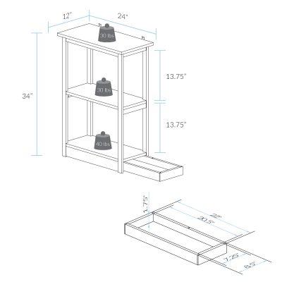 Hidden Compartment Furniture Design - Adams 3-Shelf Bookcase Dimension
