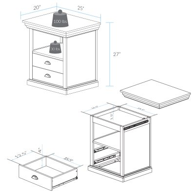Lincoln Nightstand with Concealed Compartment Dimension