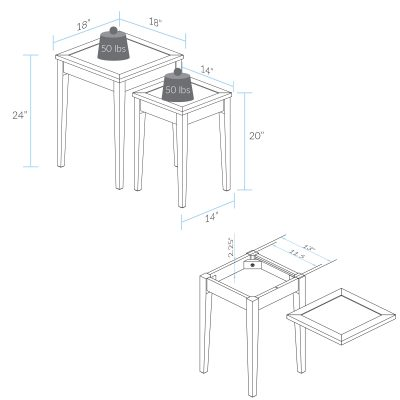 Lincoln Nesting End Tables with Concealed Compartment Dimension